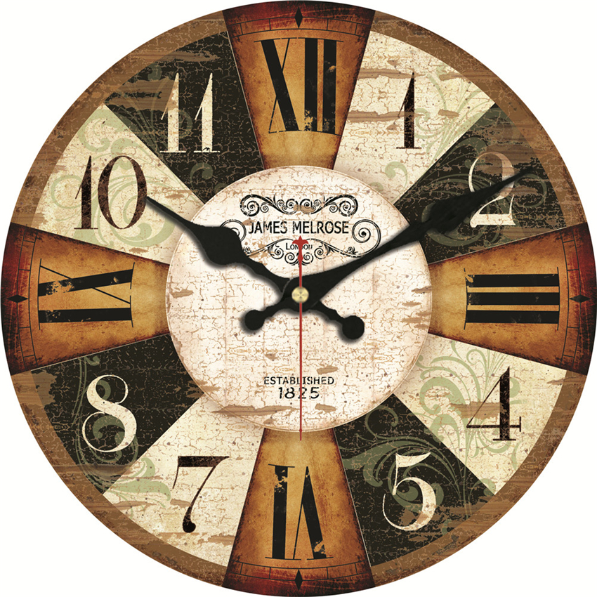 MEISTAR Vintage Wooden Clocks Brief Design Silent Home Cafe Office Wall Decor Clocks For Kitchen Wall Art  Large Wall Clocks