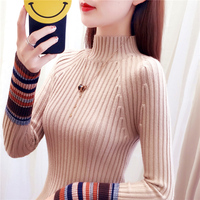 turtleneck women sweaters and pullovers knitted solid long sleeved slim sexy lady elegant pulls outwear coat tops