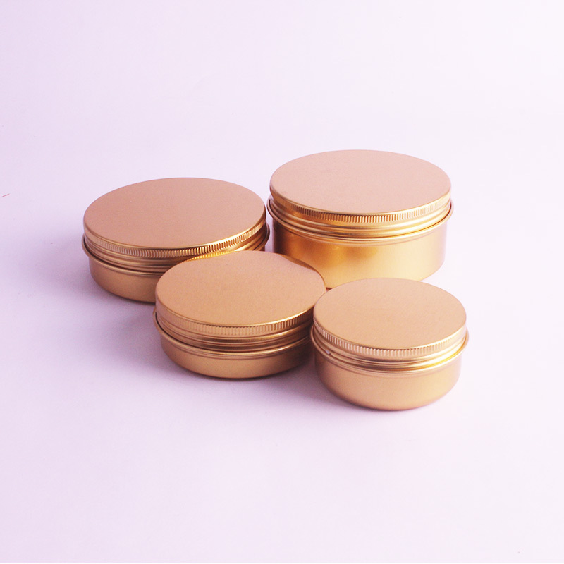 Image 2 - 20pcs/lot 50ml,60ml,100ml,150ml Gold Aluminum Cream Jars Tins Metal Cosmetic Jar Cosmetic Packaging Containers Lipstick Pot-in Refillable Bottles from Beauty & Health