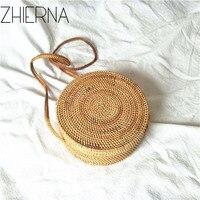 Women Bohemian Bali Handbag Summer 2017 Handmade Crossbody Leather Shoulder Beach Bag Circle Straw Bags Tassel