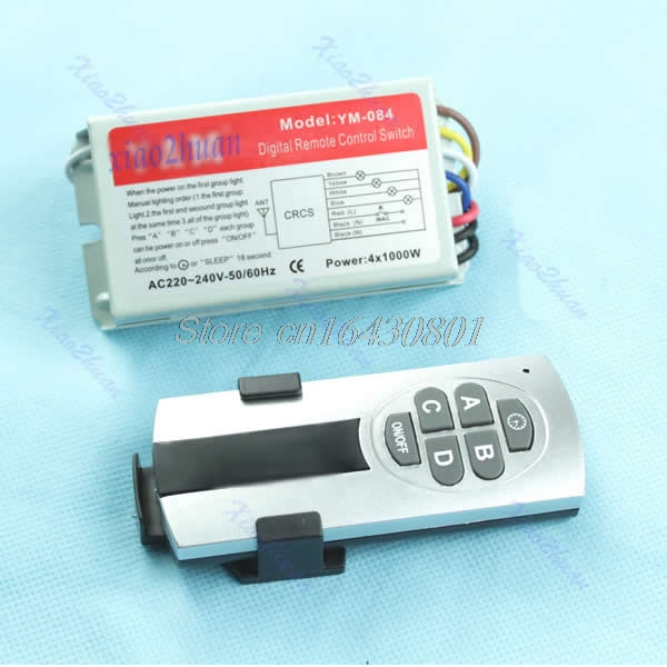 4 Ways ON/OFF Digital Remote Control Switch Controller For Light Lamp NEW #S018Y# High Quality new 315 433mhz intelligent remote on off digital wireless remote control switch 220v controller for light lamp high quality