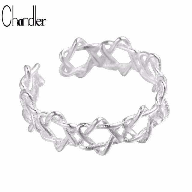 Chandler 925 Sterling Silver David Star Conjoint Ring For Women Adjustable Aneis Infinity Full Finger Bague Femme Homme Bijoux