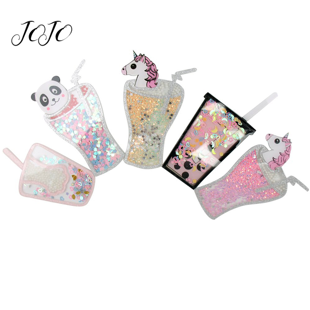 JOJO BOWS 1pc Flatback Resin Patch For Craft Unicorn Panda Drink Cup Quicksand Accessories For Decor Apparel Phone Case Sticker