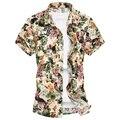 M-5XL 6XL mens shirts moda 2016 floral camisas de los hombres con la flor famosa marca mens camisas de vestido G0106