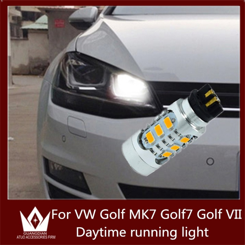 Tcart 2PCS Auto LED Bulbs Error free Daytime Running Light DRL Led Lamp For VW Volkswagen Golf MK7 For Golf VII PW24W 5730 15smd eouns led drl daytime running light fog lamp assembly for volkswagen vw golf7 mk7 led chips led bar version