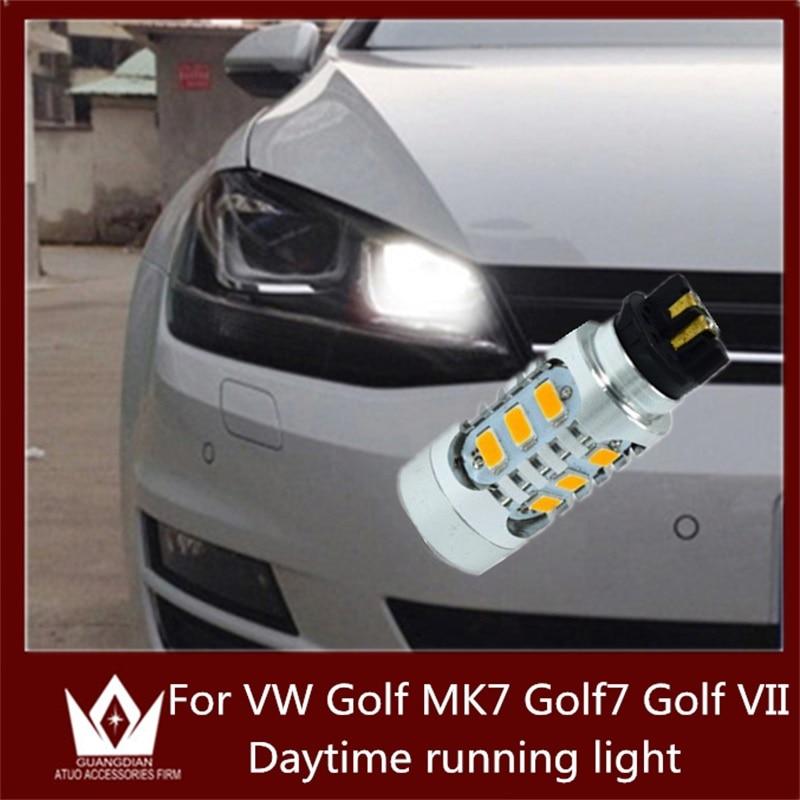Tcart 2PCS Auto LED Bulbs Error free Daytime Running Light DRL Led Lamp For VW Volkswagen Golf MK7 For Golf VII PW24W 5730 15smd