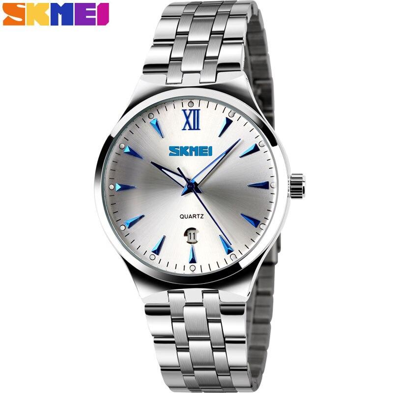 Prix pour 2017 skmei marque montres hommes quartz d'affaires de mode casual montre en acier plein date femmes amant couple 30 m étanche montres