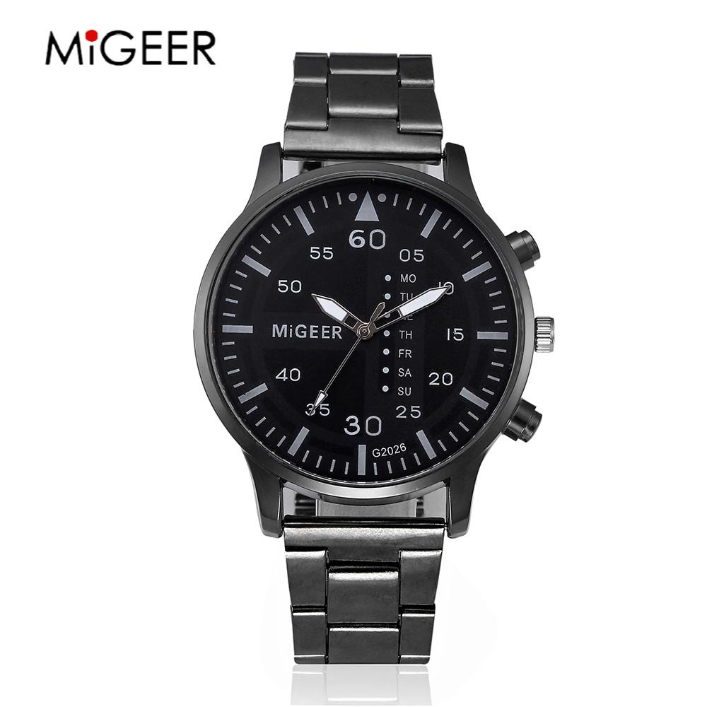 MIGEER Brand 2017 Men Crystal Stainless Steel Watches Luxury Male Business Clock Men's Sports Quartz Analog Watch Drop Shipping migeer 2009 trendy steel band men quartz watch