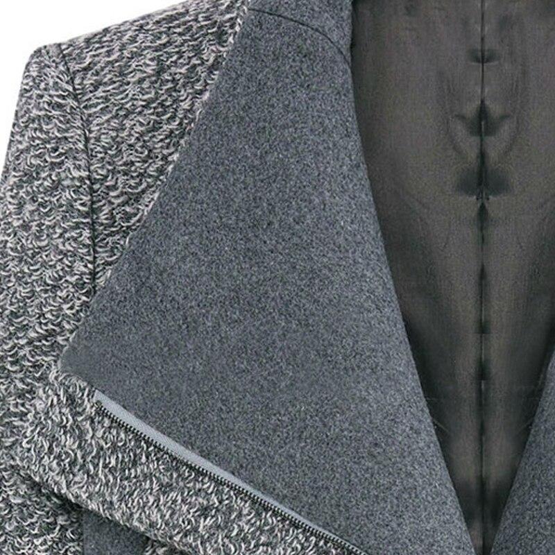 Femmes Turn En Wool Cachemire Coat Pardessus Woolen Collar De À Laine Glissière Coat Slim down Printemps Manteau Femininos grey Gros Black Longues Fermetures Manches XxrxB8Iq
