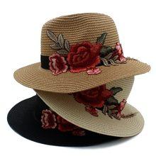 Moda Feminina Verão Panamá Chapéu de Sol de Aba Larga chapéu de Palha  Bordado Para Senhora 3b2a7483ff8