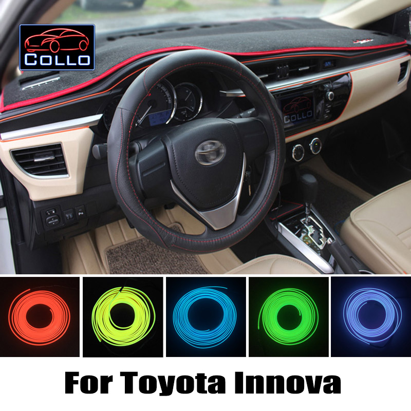Group All New Kijang Innova Inner Grill Grand Avanza Car Decoration Cold Light Atmosphere Lamp 9 M El Wire For Toyota Crysta Central Control Desk Decorative Strip