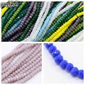 Opaque Solid Color Crystal Glass Faceted Abacus Beads Strands,  3x2mm, Hole: 1mm; aboout 198pcs/strand, 15.7""