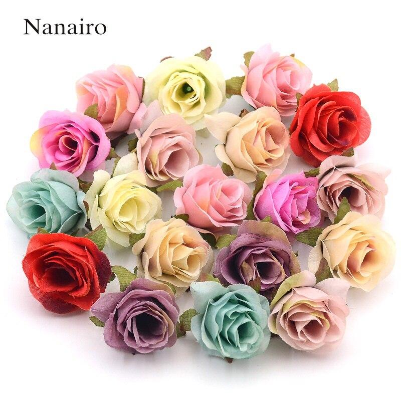 10 pcs Silk Artificial Rose Flower Head Scrapbooking Flowers Ball For Wedding Decoration Scrapbooking Wreath Home Accessories