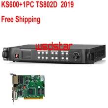 KS600 + 1 шт. TS802D 2019 светодиодный видеопроцессор 1920*1200 1920*1080 1024*768 DVI/VGA/HDMI/CVBS светодиодный настенный видео контроллер Бесплатная доставка