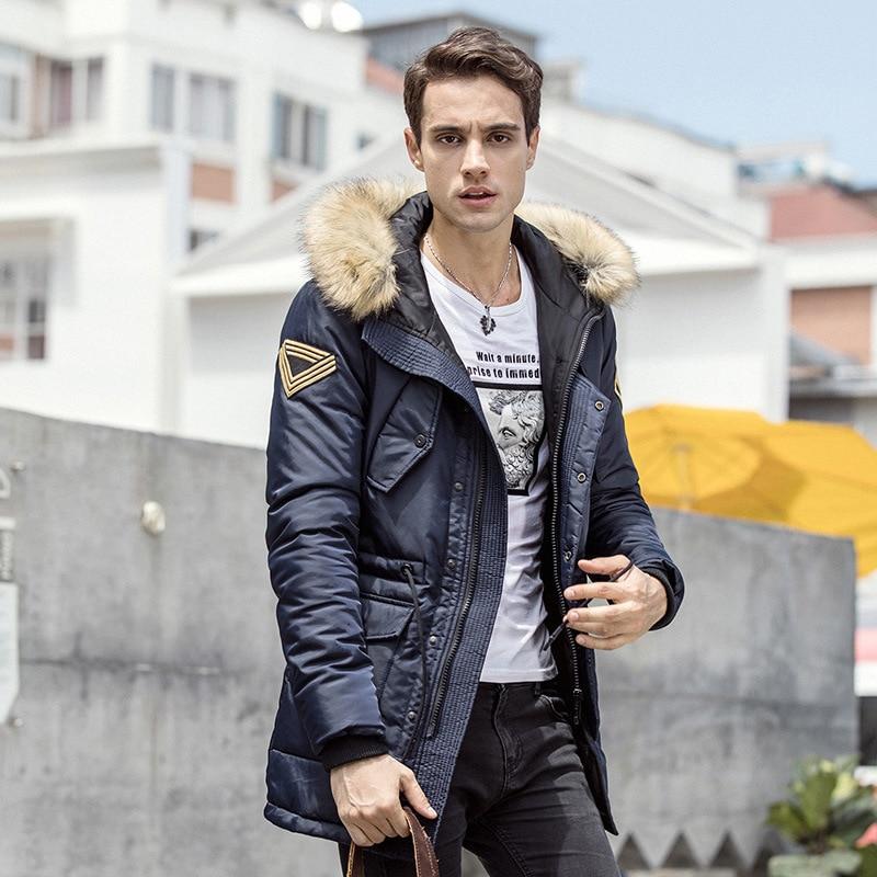 2017 Brand New Men Padded Parka Winter Polyester Coat Thick Parkas With Raccoon Fur Collar Fashion Coat Mens Free Shipping купить в киеве gsm прослушку