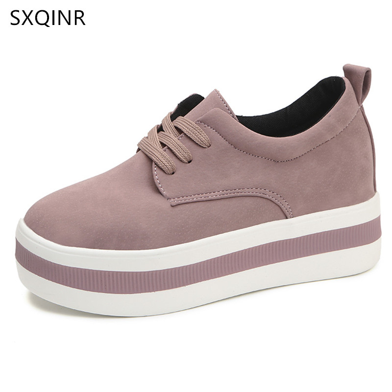 High Heels Ladies Casual Shoes 2018 Spring Fashion Women's Shoes British Style Increases Women Platform Shoes ladies shoes 2018 spring british style multicolor leather shoes square head slope thick soles shoes fashion fit flat shoes