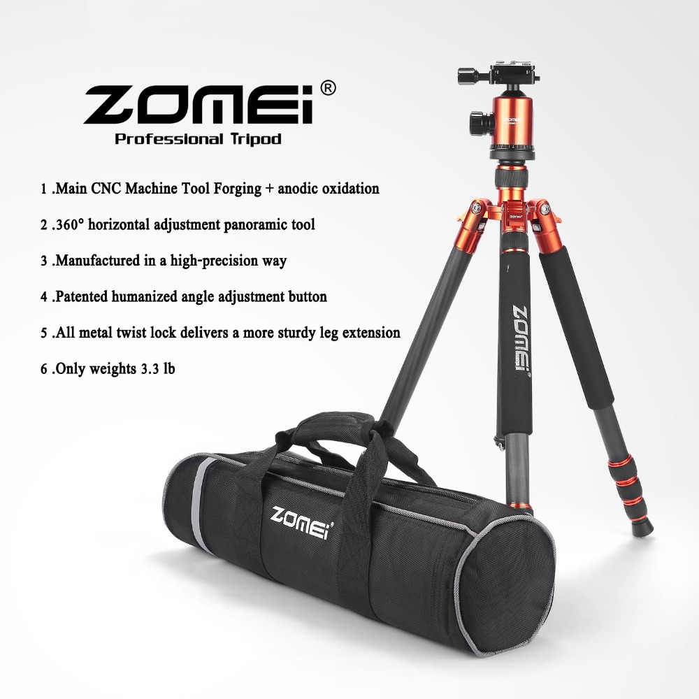 65-inch Professional SLR Camera Carbon fiber Travel Tripod Portable Monopod&Ball head with Carrying case for Canon Nikon Sony triopo gxt 2804 slr camera carbon fiber tripod portable monopod