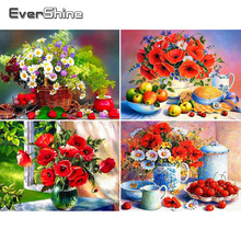 Evershine Diamond Mosaic Sale Flowers Cross Stitch Embroidery Full Display Flower Rhinestones Pictures Painting