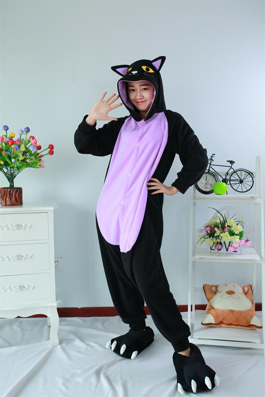 Adult Kigurum Onesies Animal pajamas Cosplay Clothing Sleepwear Romper Animal Midnight Cat Pajamas Pyjamas cosplay halloween