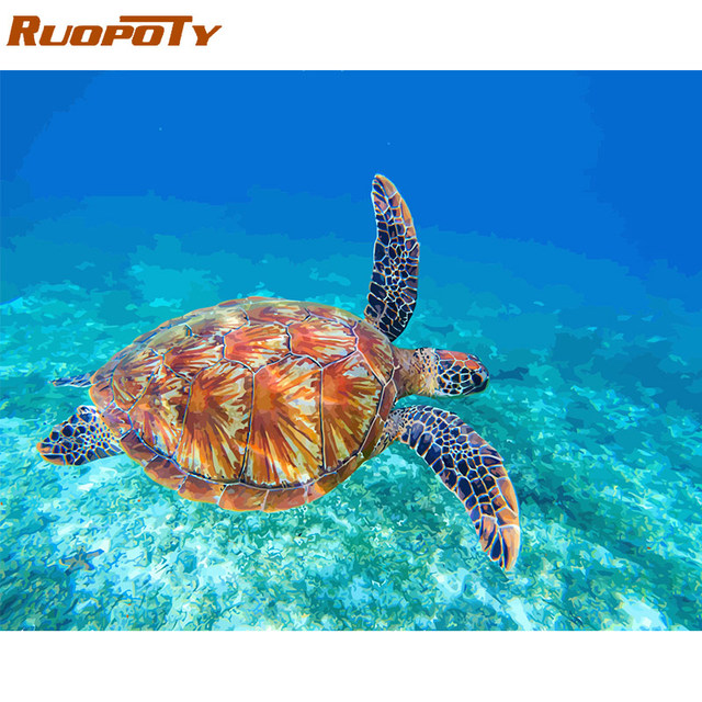 RUOPOTY Frame Sea Turtle DIY Painting By Numbers Calligraphy Painting Acrylic Paint By Numbers Kit Home Decor Wall Art Picture