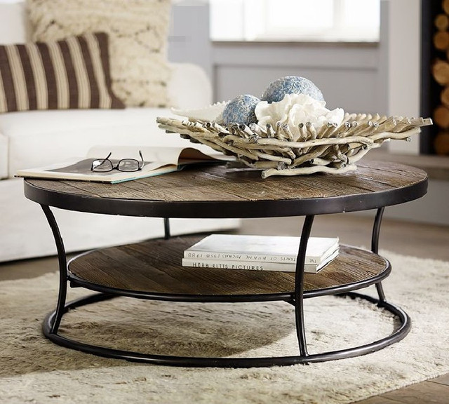 Round Retro Coffee Table: American Style Loft Living Room Sofa Vintage Wrought Iron