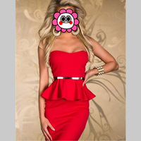 2016 Solid Red Summer New Fashion Europen And American Style 2 Pcs Mini Dress Sexy Ruffles