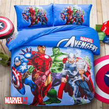 The Avenger Character 3D Printed Bedding Set Bedspread Coverlet Duvet Cover Full Queen Size Cotton Woven Blue Color Children Boy