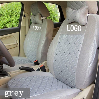 Silk Material Embroidery Logo Car Cushion For TOYOTA RAV4 Highlander PRADO Corolla Vios Yaris Prius Camry Crown Reiz Grey Color чехлы для автокресел yuxuan toyota camry vios reiz rav4
