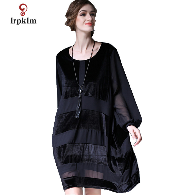 De Nouveau Lâche Black En 2018 Automne Femmes Mode Robes Mousseline Robe Genou Dames Printemps Haute Qualité Soie Velours longueur Pq294 FdpTpq8w