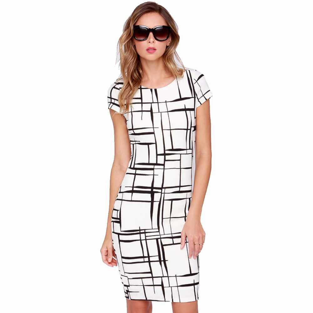94ef265b0d3ee3d 2018 контрастные черно-белые элегантные весенне-летние платья в полоску с  коротким рукавом и