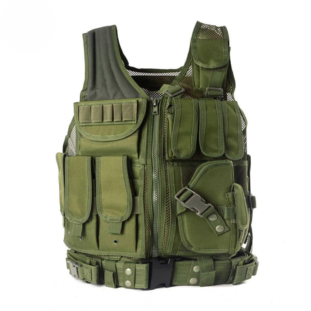 التفريغ الشرطة التكتيكية سترة صيد في الهواء الطلق التمويه العسكرية درع للجسم ملابس رياضية سترة الجيش Swat رخوة سترة الأسود