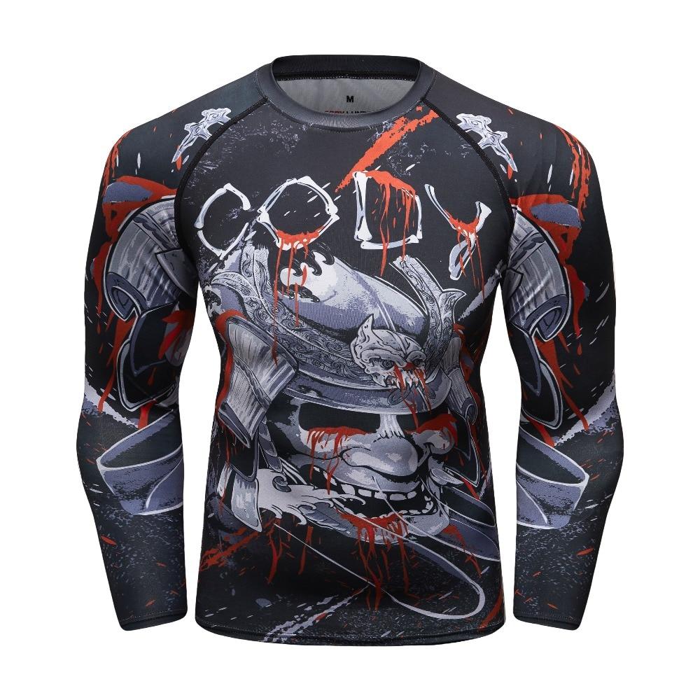 Men s Compression Shirt Rashguard Long Sleeve 3D Print Jiu Jitsu T-shirts  MMA Fitness Male c079761830e8f