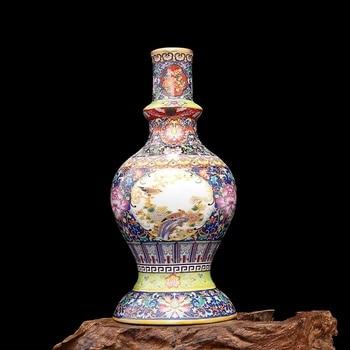 Jingdezhen Antique Enamel Vase Pagoda Vases Flowers And Birds Pattern Ancient Qing Yong Zheng Porcelain