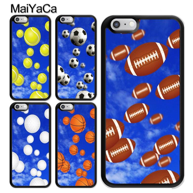 MaiYaCa Golf Football Basketball Balls Sports Soft TPU Phone Case Funda For iPhone 6 6S Plus 7 8 Plus X 5 5S SE Back Cover Shell