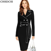CHSDCSI Autumn Winter Suit Collar High Waist Hit Color Party Dresses Long Sleeves Solid Office Female