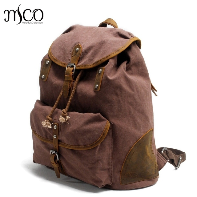 408a46d46f British College Style Canvas Backpack Youth School Bags Vintage Men s  Casual Shoulder Laptop Bag Design Military Travel Backpack
