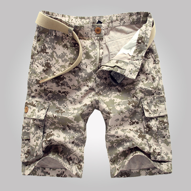 2019 summer style new men cargo shorts camouflage casual trousers, Knee Length Military shorts, Multi-Pocket Bermuda Masculina