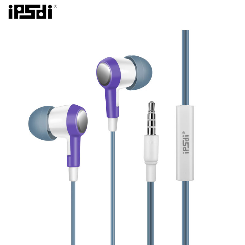 Original Ipsdi HF256C Purple 3.5mm In-Ear Earphones  Earbuds With mic In-line control Waterproof For Mobile Phone PC Hi-Fi зонты