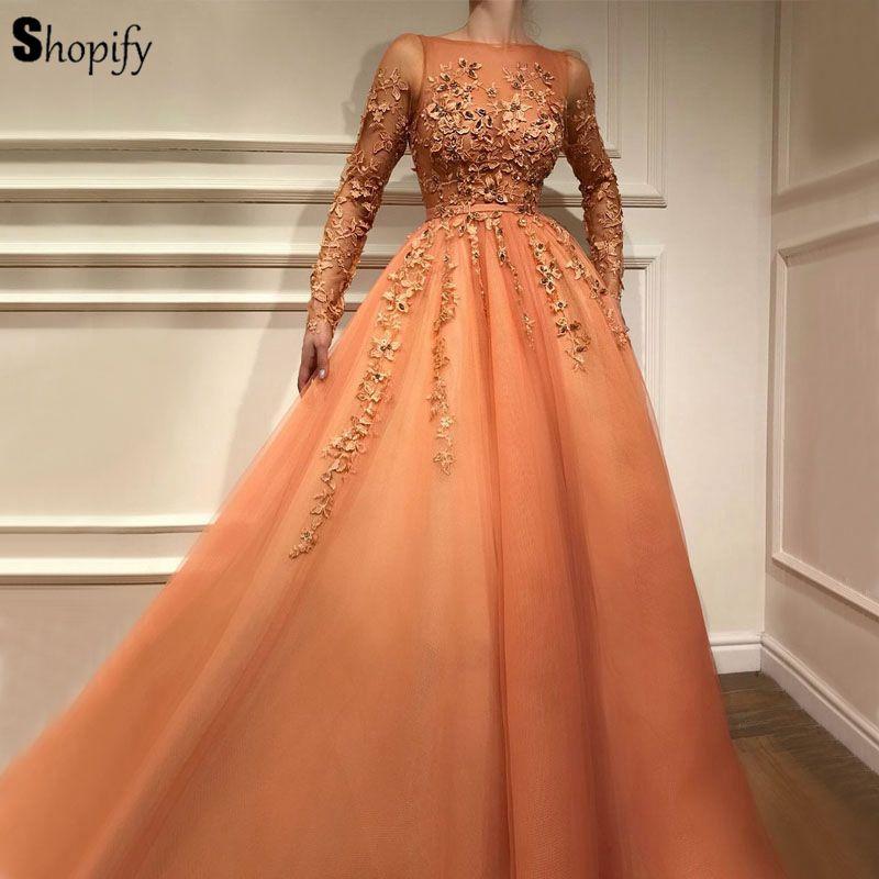 Longues robes de soirée de Style arabe 2019 élégant a-ligne à manches longues perlée Applique Oman Orange femmes robe formelle