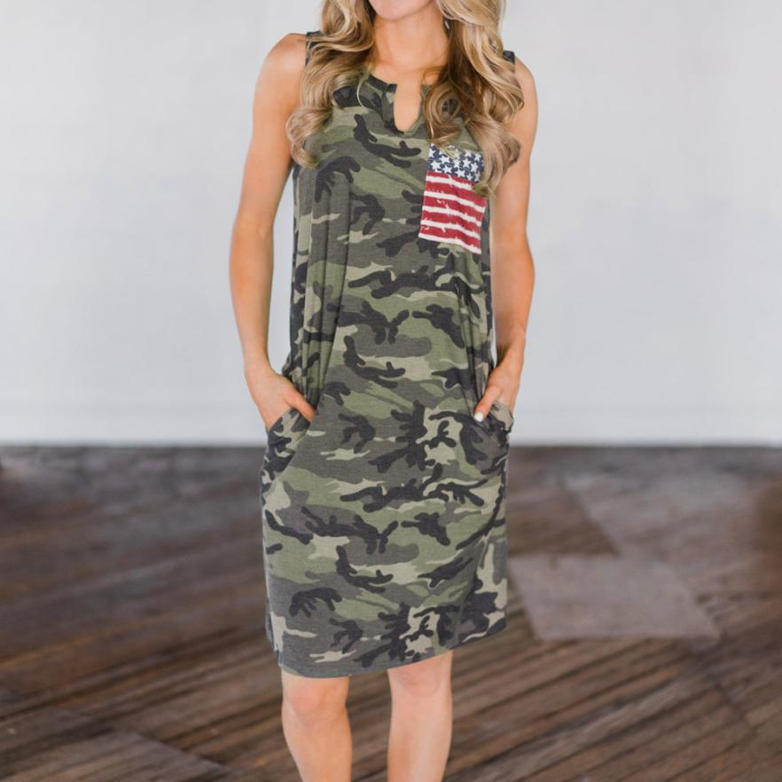Women Sleeveless American Flag Printed Evening Party Dress Beach Dress  Sundress gothic gatsby elegant plus size sexy-in Dresses from Women s  Clothing on ... 3ea317e198a0