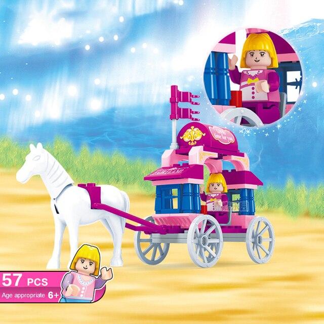 GOROCK Tijolos de Blocos de Construção princesa Rosa pequena carruagem Modelo Blocos Educacionais Brinquedos Para Crianças dos miúdos Compatível Com Legoe