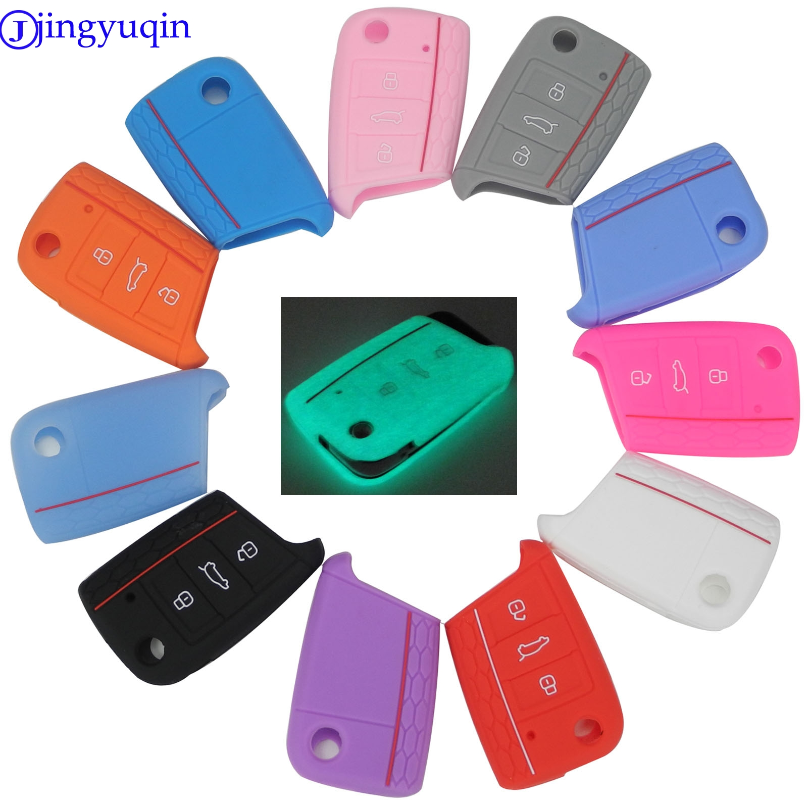 Car Accessories Key Case Key Bag Key Cover For Volkswagen VW Golf 7 mk7 Skoda Octavia A7 Silicone Key Portect Case1pc per set
