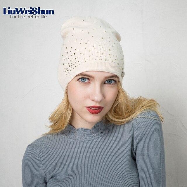 LIUWEISHUN 2017 Classic Women s Winter And Fall Black Beanie Cap Girls Knit  Cap Pearl Beanie Hat Outdoor Casual Gorro Hats a16fc043f83