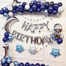Birthday Party Decorations Kids Dark Blue Latex Balloon Garland Kit Boy Happy Birthday Ballon Backdrop Baby Show Ballon Banner