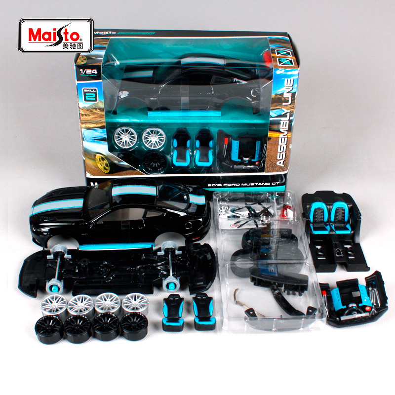 Maisto 1:24 2015 Ford Mustang GT 5.0 Assembly DIY Diecast Model Car Toy New In Box Free Shipping 39305