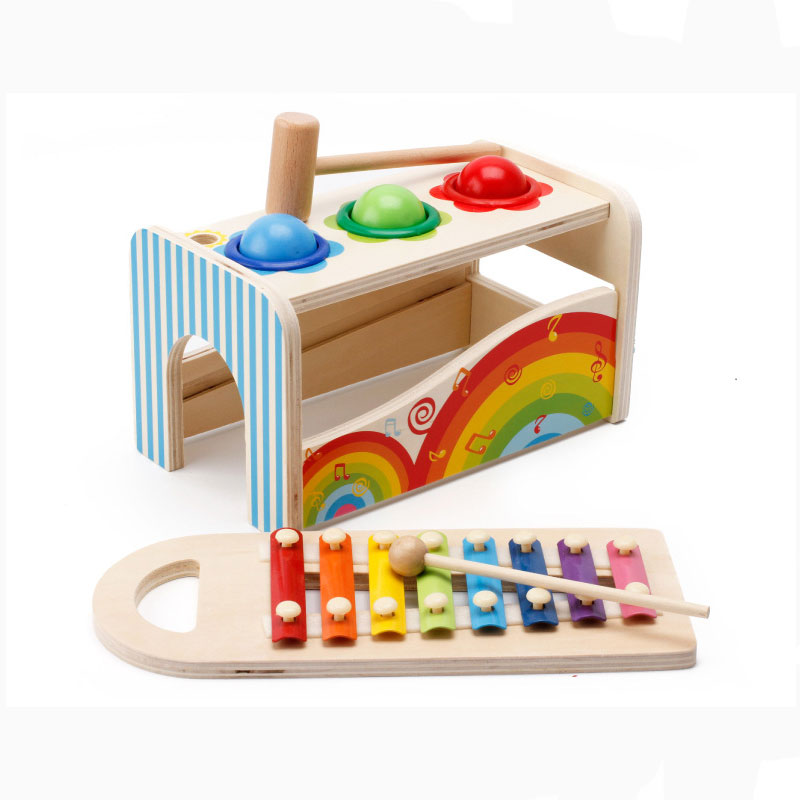 MWZ Baby Wooden Noise Maker Knock Ball Xylophone Kids Hand Hammering Early Learning Educational Toys Music Instrument Block Toy baby toys wooden knocks pillar platform wood toys hammering children early learning educational toys brand juguetes