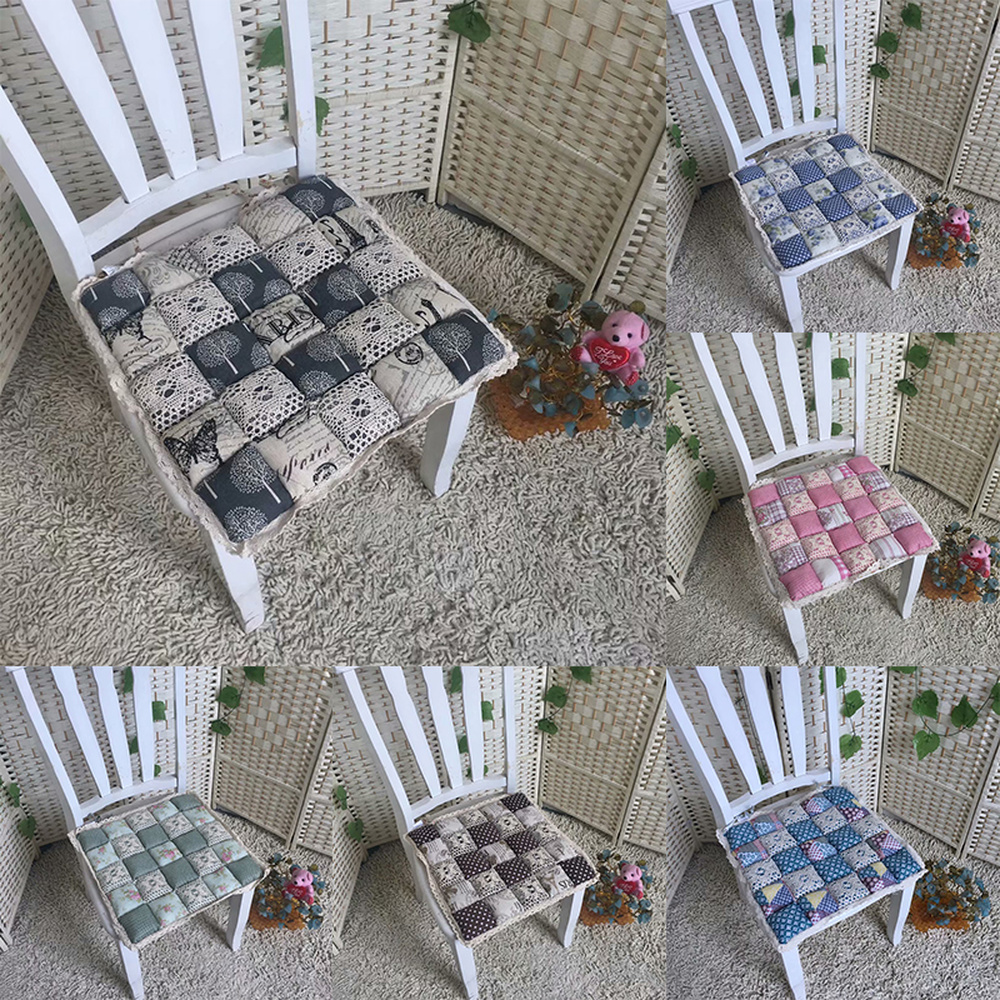 4PCS Non-Slip  Vintage Floral Tie On Seat Pads Chair Cushion Chair Seat Cushion For Dining Room Kitchen Garden 40*40*4cm