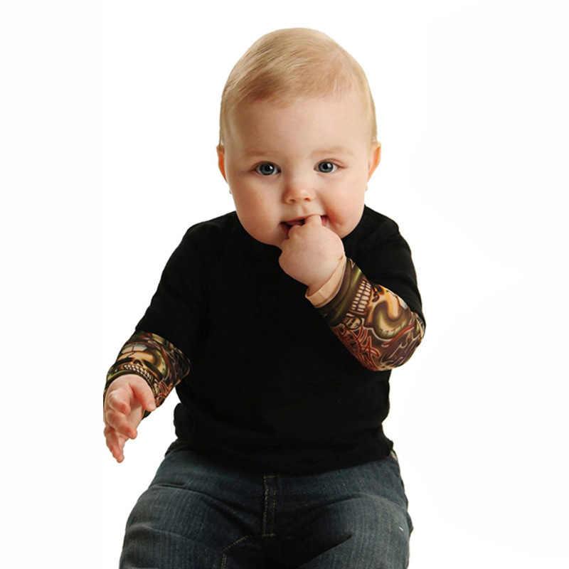 Для маленьких мальчиков комбинезон одежда с длинным рукавом из хлопка с принтом татуировки Короткие рок одежда для альпинизма 2018 Новорожденные комбинезон