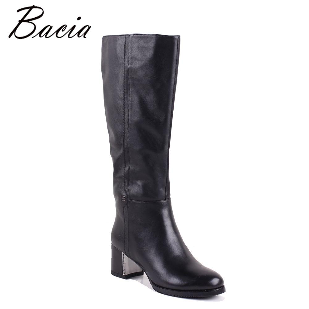 Bacia mujer botas zapatos de cuero genuino tacones unos 4,5 cm interior de lana de piel y felpa corta botas de rodilla negra zapatos MC013