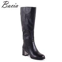 Bacia Для женщин сапоги из натуральной кожи обувь на каблуках около 4,5 см внутри шерсть мех и короткие плюшевые ботинки черные Сапоги до колена